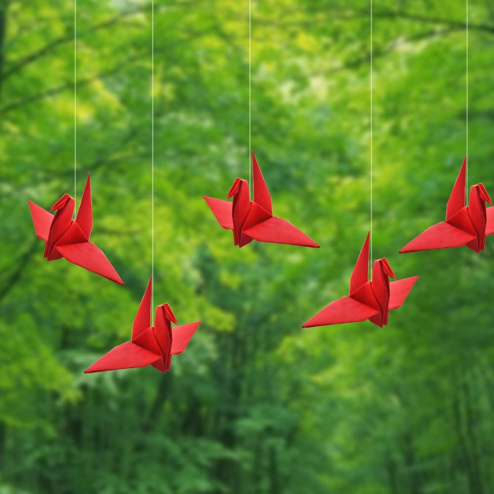 Hangnuo 100 PCS Origami Paper Cranes Red Folded DIY Japanese Crane Mobile String Garland for Wedding Party Backdrop Home Decoration