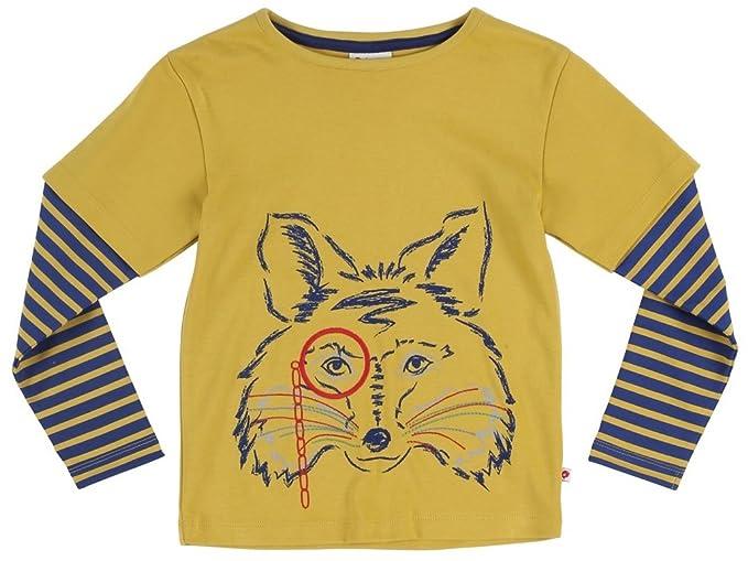 Piccalilly Algodón orgánico amarillo camiseta manga larga zorro: Amazon.es: Ropa y accesorios