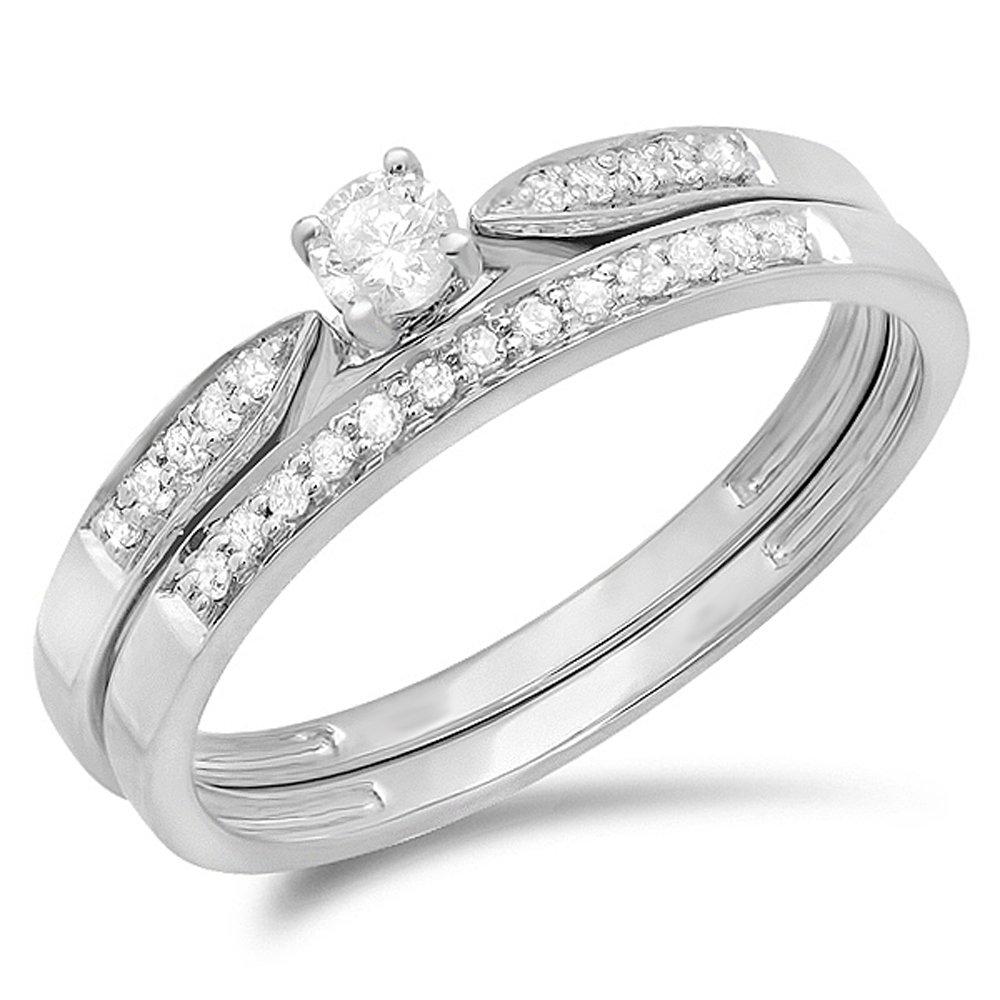 Dazzlingrock Collection 0.25 Carat (ctw) 10k Round Diamond Ladies Bridal Engagement Ring Matching Band Wedding Set 1/4 CT, White Gold, Size 7