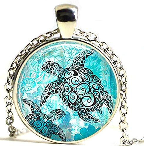 Peace River Designs Vintage Beautiful Glass & Metal Necklaces (Ocean Turtle) (Bezel Glass Sea)