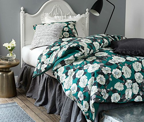 (French Country Garden Old Fashion Cotton Duvet Quilt Cover 2 Piece Set Twin Single Green Grey and White Botanical Nature Floral Branches)