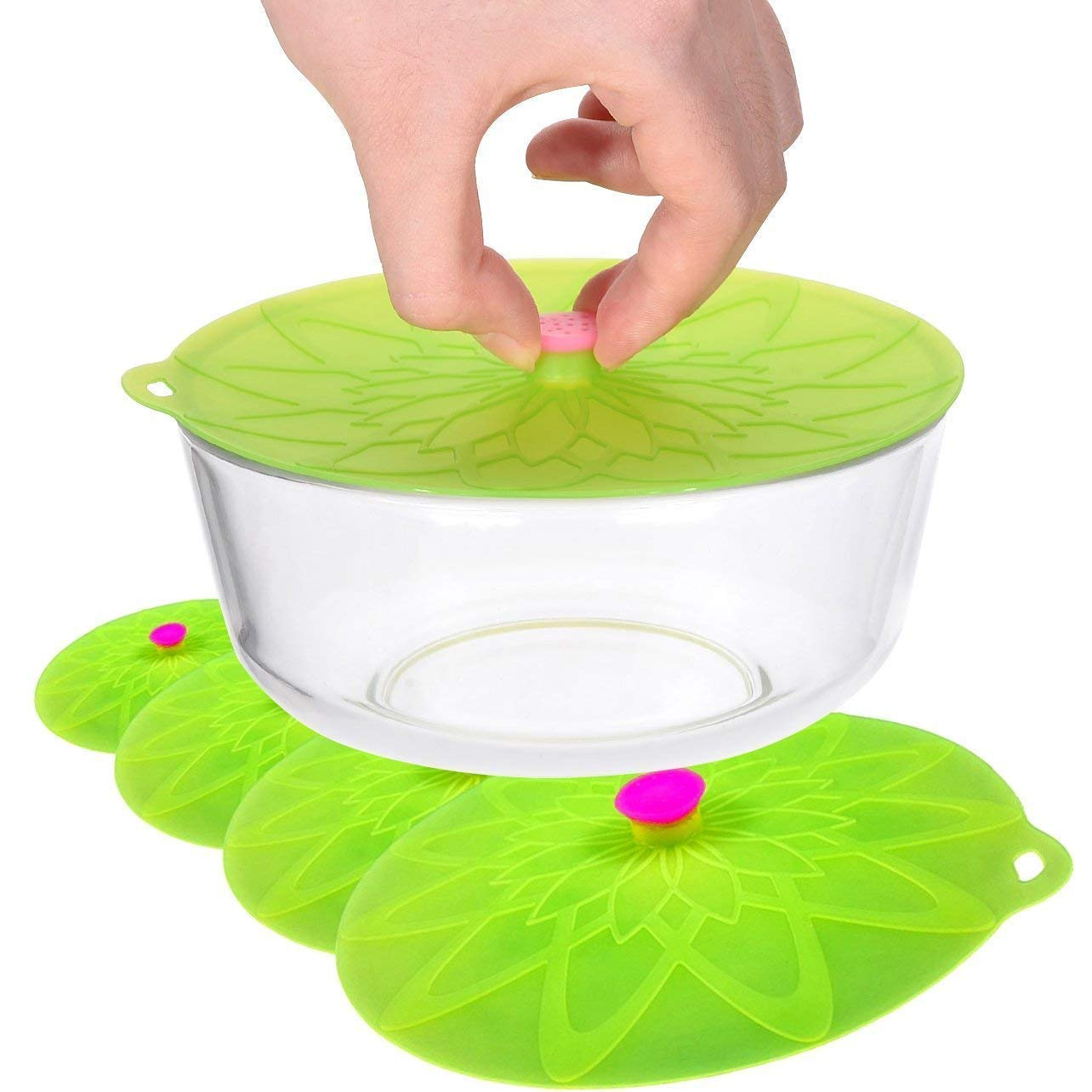 Kuke Silicone Suction Lids Food Bowl Covers microwaves, Pots, Pans, Mugs Containers - BPA Free,Durable, Dishwasher-Safe,Leak- Proof