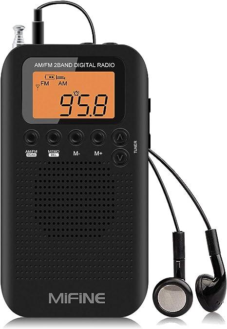 Radio Portatil, Radio de Bolsillo pequeño Mini Radio Am/FM con Reloj Despertador y Temporizador de Apagado, Radio Temporizador con Auriculares Sintonización Digital Mini Radio estéreo de Trotar: Amazon.es: Electrónica