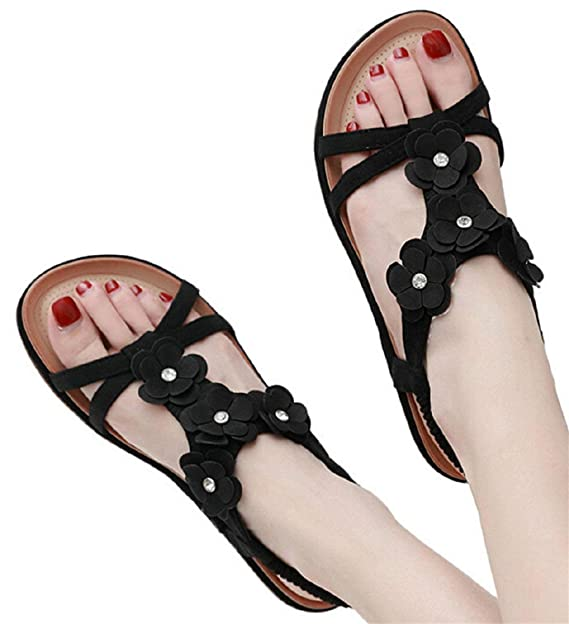 a40bf77a35dfd Amazon.com: Flat Sandals Shoes for Womens Boho Sandals Shoes Flower ...