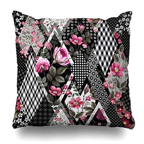 (HomeOutlet Throw Pillow Cover Victorian Vintage Floral Patchwork Pattern Roses Flower Pink Retro Garden Geometric Black Design Pillowcase Square Size 16 x 16 Inches Home Decor Sofa Cushion Case)