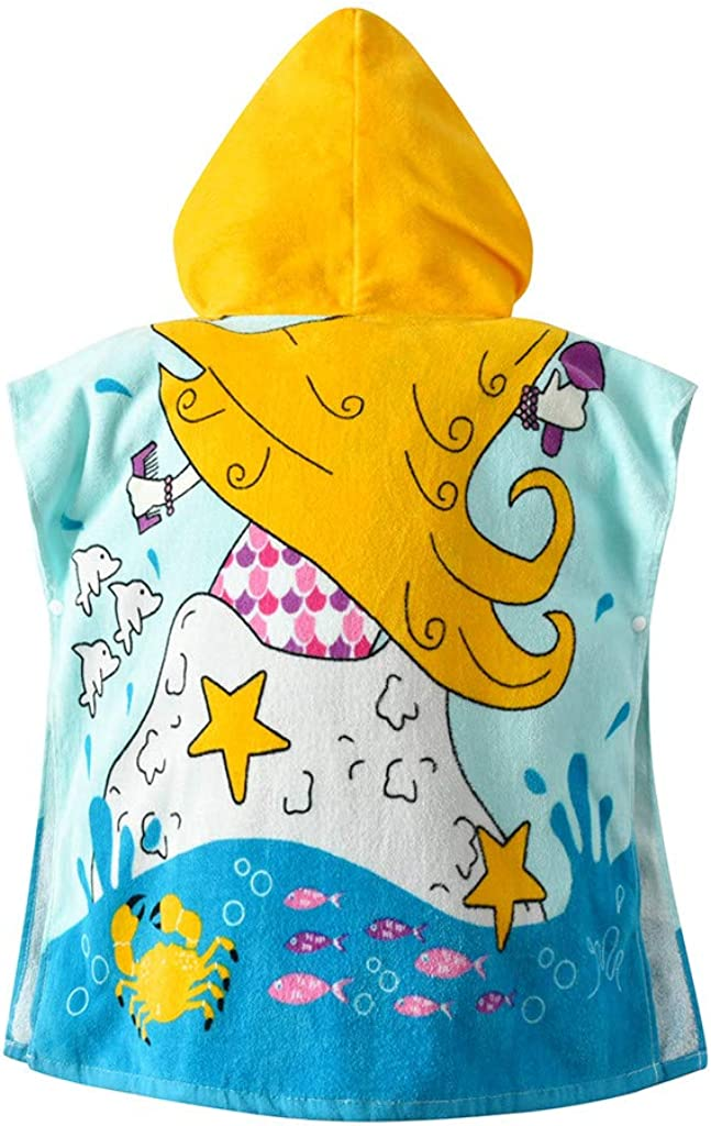 Baby Boys Girls Bathrobe Soft Hooded Bath Towel Toddler Kids Cartoon Animals Pajamas Sleepwear Cotton Dressing Gown Wrap Shower Gift 1-5 Years