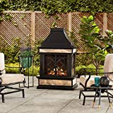 Sunjoy Heirloom Slate Wood Burning Fireplace, Black