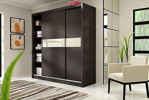 LUCA 1 moderno armario con puertas correderas - 10 colores - 4 tamaños - 14 diseños, madera, crudo, Large 205cm: Amazon.es: Hogar