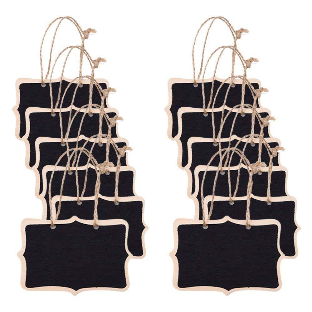 Enfants Artisanat et Jardin Decor 12Pcs Mini Tableaux Ardoises Noirs Signes Suspendus Message Tableau Rectangle Recto-Verso Pour Mariages
