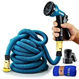 Gada Garden Hose -Expandable Water Hoses Set 8-Way Spray Nozzle - STRONG Lightweight Coil Flex, Collapsible Flexible Expanding Three LAYER Latex in Pocket (75ft)