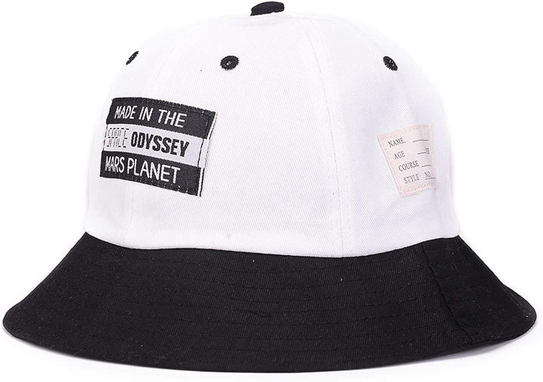 XINBONG New Unisex Bucket Hats for Men Women Cotton Fishing Hats Hip Hop Fisherman Hat Patch Letter Black White 92301