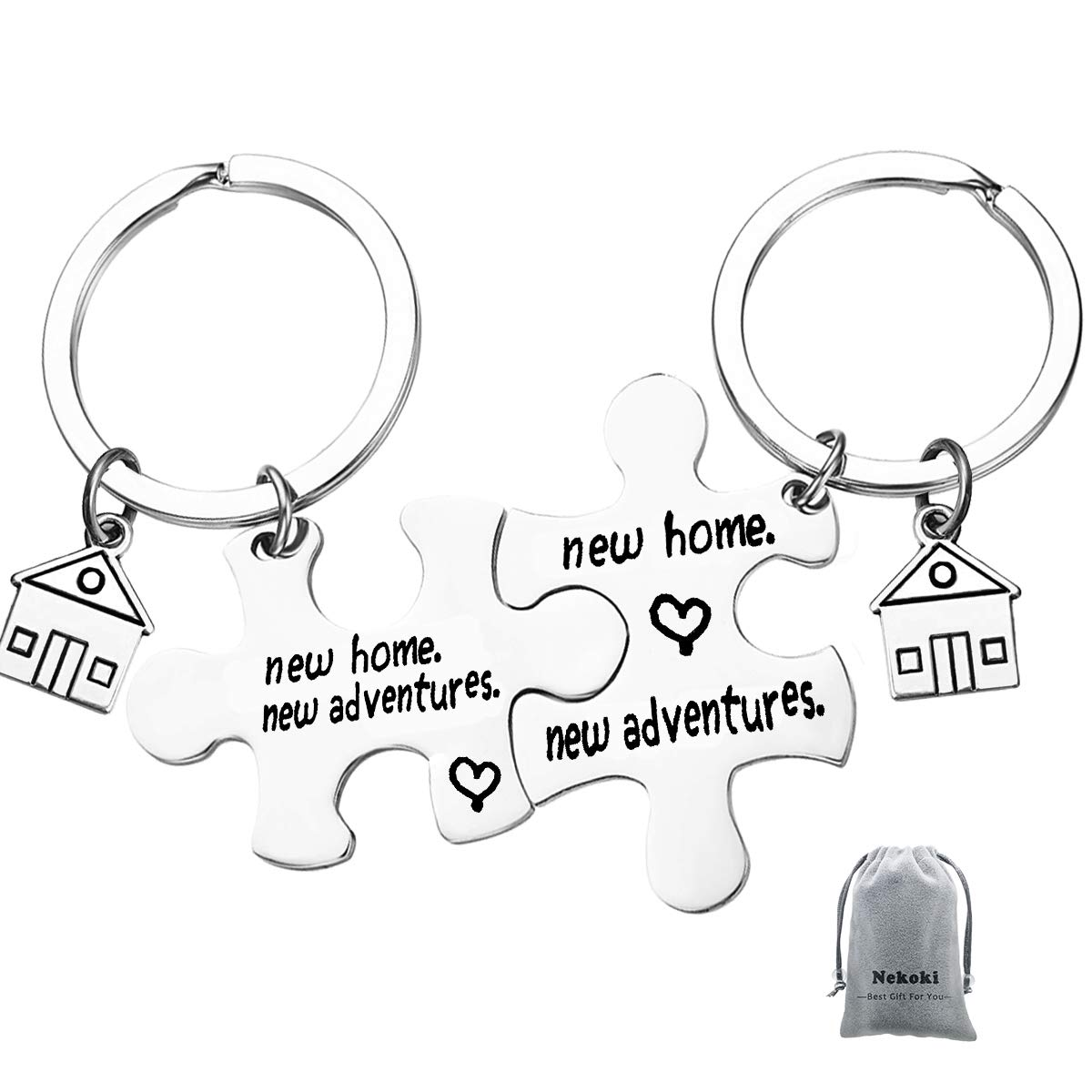 2Pcs New Home New Adventures Puzzle Keychain Set First Home Gift Housewarming Gift for New Homeowner House Keyring Moving in Keychain New Home Owners Jewelry Realtor Closing Jewelry