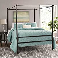 Mainstays Easy to Assemble Modern Design QUEEN Size Sturdy Metal Frame Four Post Canopy Bed in Black