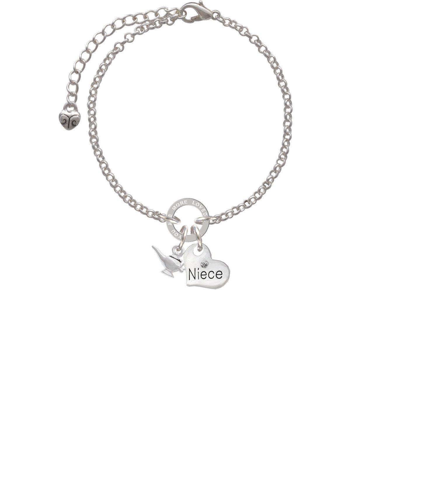Silvertone Aladdin's Lamp Niece You Are Loved Circle Bracelet, 8''