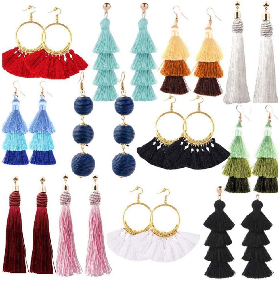 OeyeO - 12 pares de pendientes de borla para mujer, pendientes largos de hilo de borla, color amarillo, rojo, joyería de moda, regalo de San Valentín, cumpleaños, Navidad