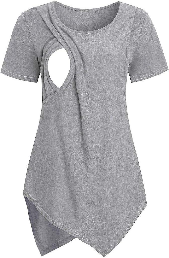 Topgrowth Maglia Allattamento Maglietta Maniche Lunghe Felpa Donna Allattamento Incinta Assistenza Infermieristica T-Shirt Casual Tops