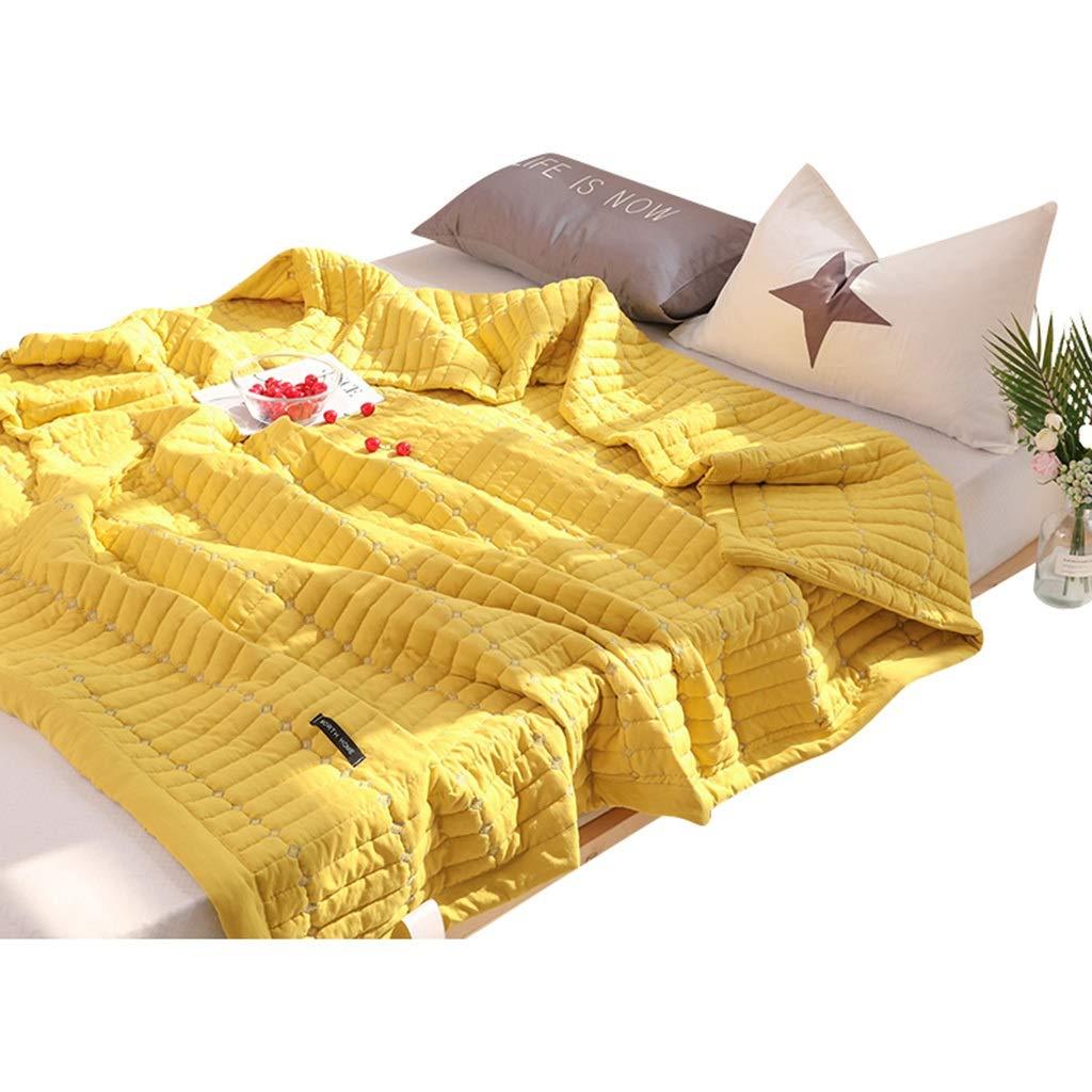100%コットンサマー掛け布団、洗えるエアコンキルト、夏用無地シン掛け布団、超薄型吸湿性通気性のオールシーズンキルティングスローブランケット(5色利用可能) (Color : Yellow, Size : 200*230cm) B07TH9TVV2 Yellow 200*230cm