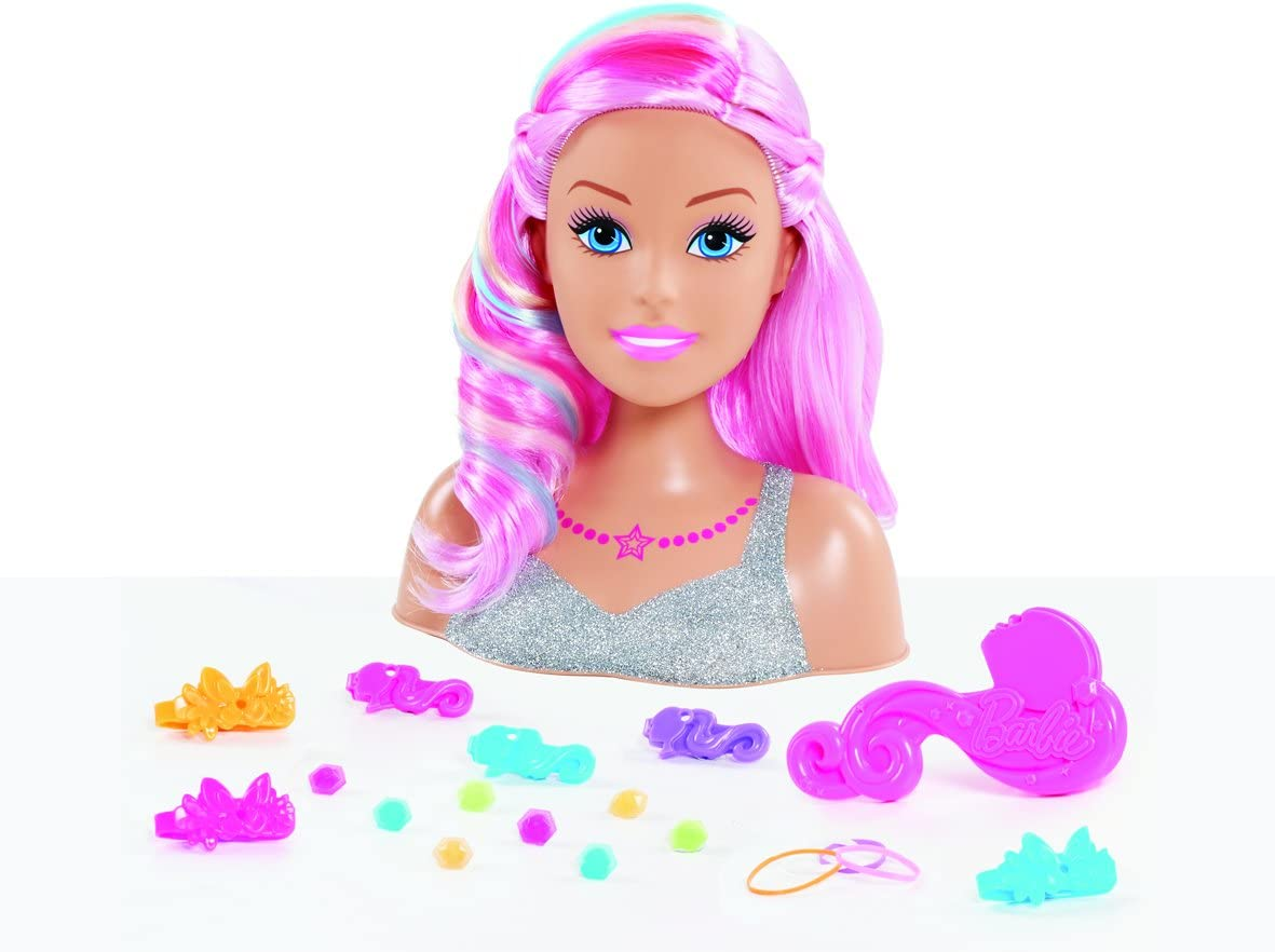 NEW Barbie Glam Party Blonde Styling Head 20-Piece Game Set Girl Hair Design Toy
