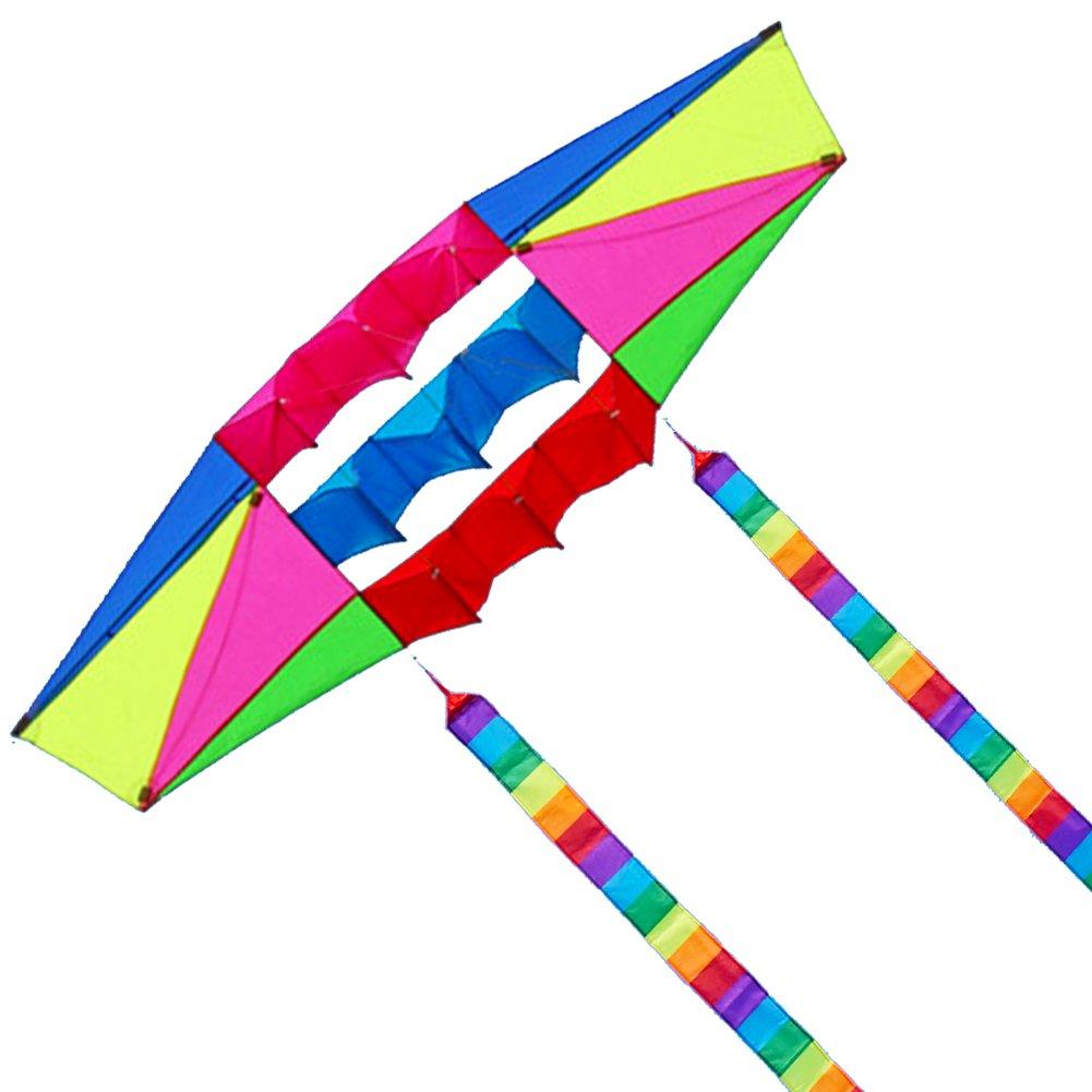Besra Huge 98インチシングルライン3dレーダーKite with Flyingツール2.5 M電源ボックス凧with 2 Tailsアウトドア楽しいスポーツfor Adults B078STL14R kite & 2 long tails
