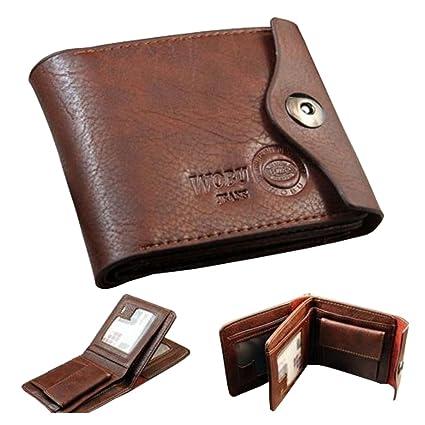 cnomg hombres cartera monedero wallet billetera de cuero con tarjetas de identificación bolsillo de la moneda con botón delgado del monedero Nuevo