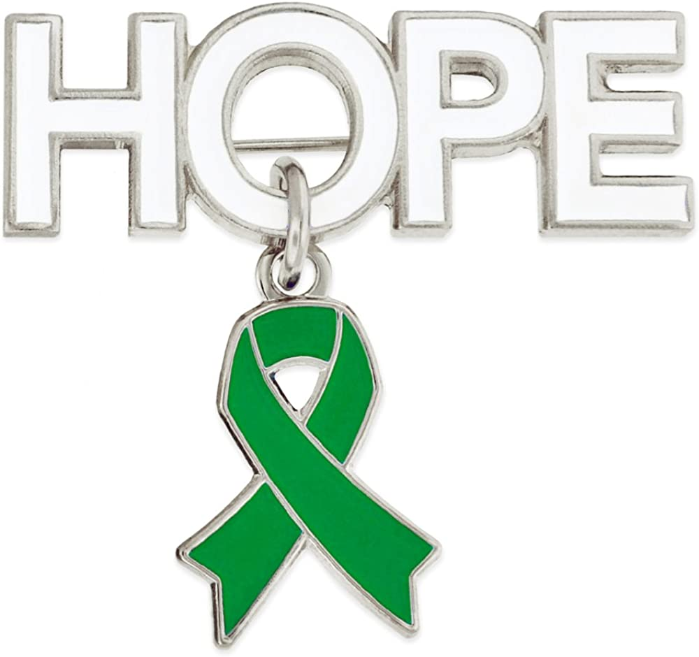 PinMart Hope with Green Awareness Surprise price Enamel Ribbon Brooch Pin Charm Now free shipping