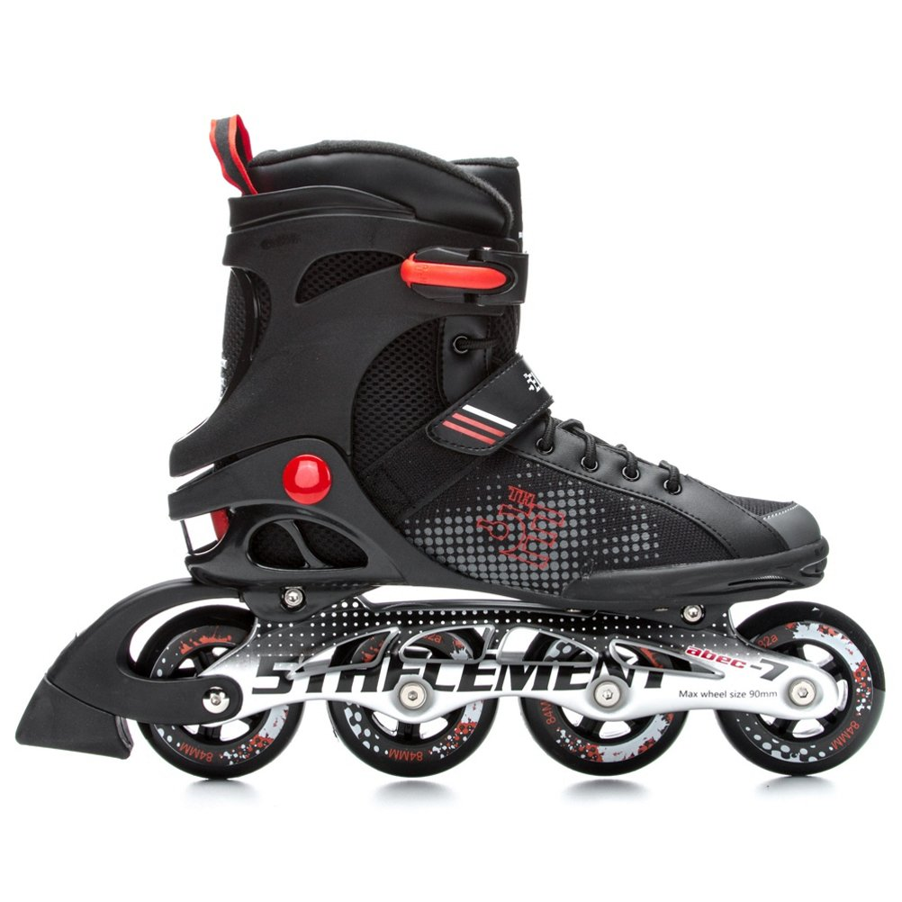 5th Element Stealth Mens Performance Fitness Inline Skates, Black and Red Rollerblades