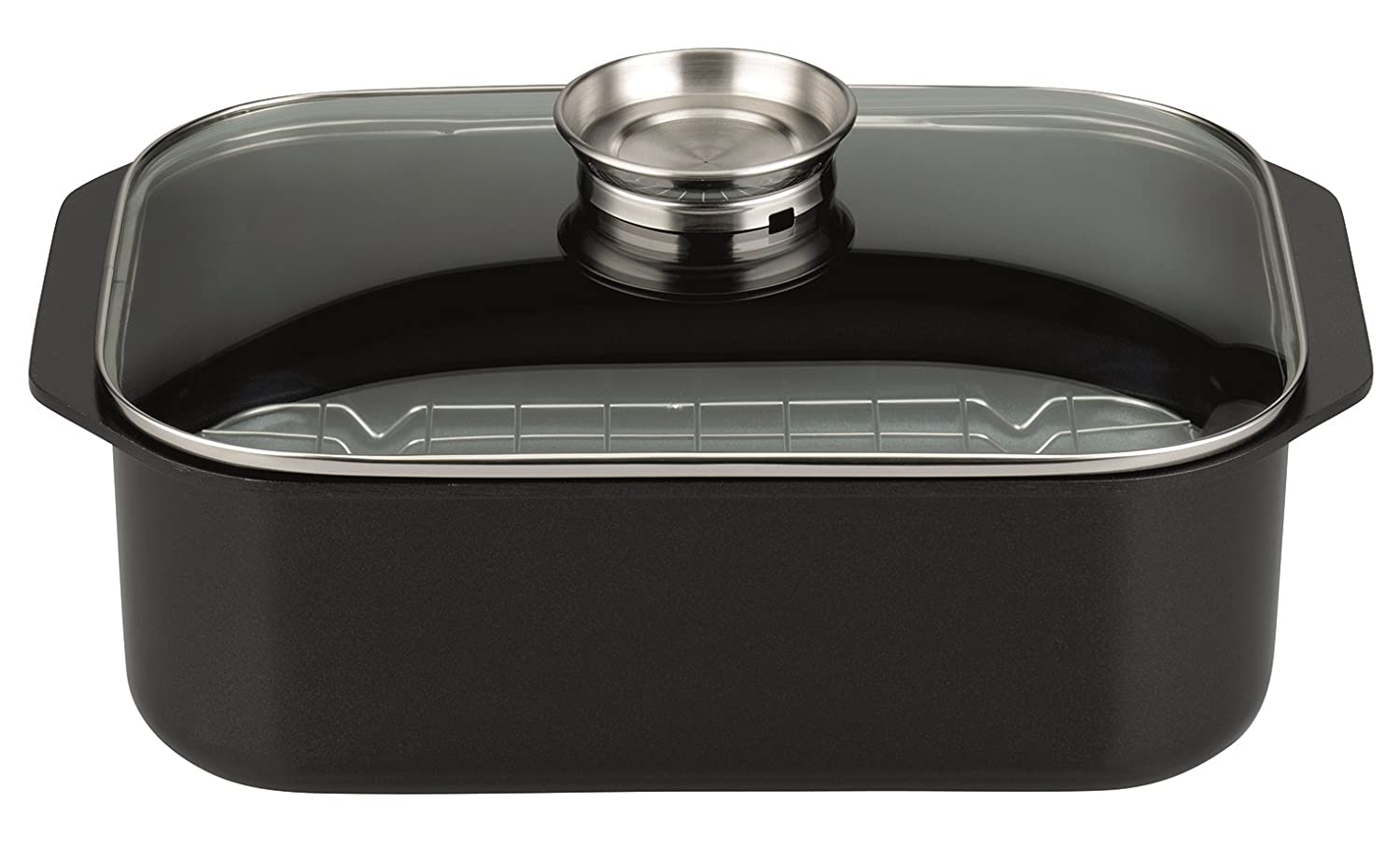ELO Pure Trend Induction Cast Aluminum Kitchen Cookware Roaster with Aerating Funnel Lid and Non-Stick Scratch Resistant Coating, 16-inch