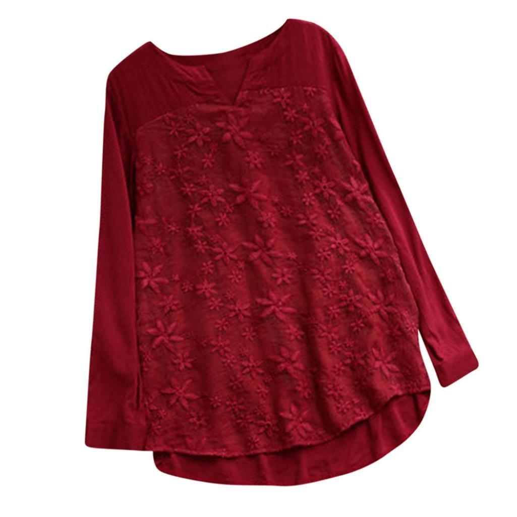 Chemises De Broderie De Dentelle Floral Chic Femmes, Mesdames V-Cou à Manches Longues Chemise Lady LâChe Baggy VêTements pour Les Femmes