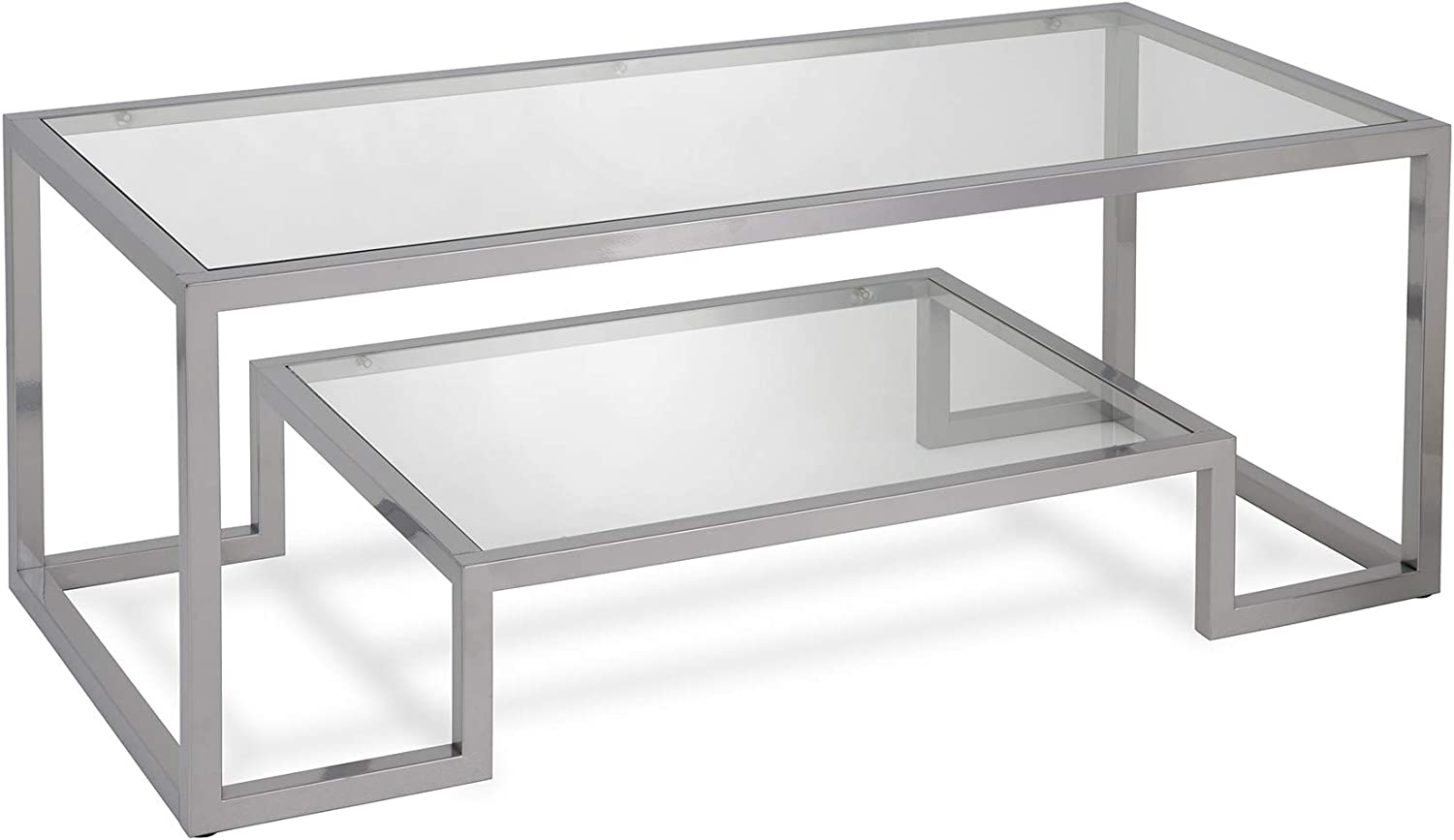 Henn&Hart Modern Geometric-Inspired Glass Coffee Table, One Size, Silver