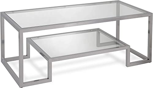 Henn Hart Modern Geometric-Inspired Glass Coffee Table, One Size, Silver