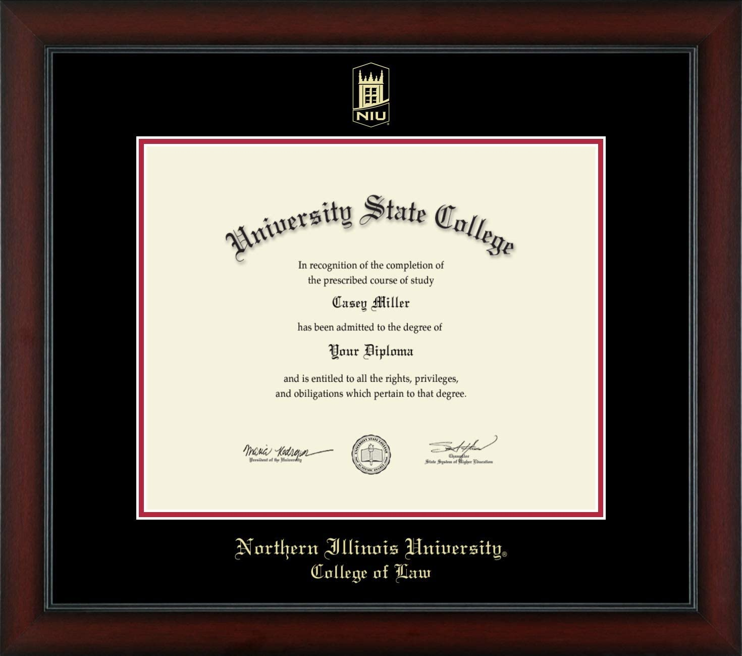 "Northern Illinois University College of Law - Officially Licensed - Gold Embossed Diploma Frame - Diploma Size 16"" x 13"""