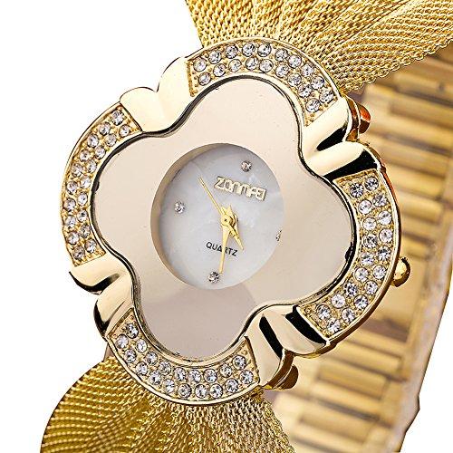 Fashion Wrist Watch for Women Design Bangle Cuff ZONMFEI Bracelet Watch Crystal Accented Ladies Watch,Gold