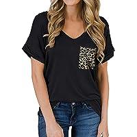 ZIOOER Women V Neck Leopard Pocket Casual Loose T-Shirt Tunic Blouse Tops