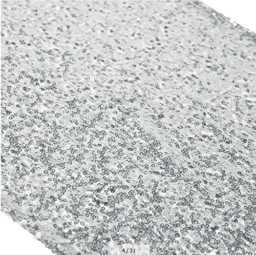 ShinyBeauty 12x72-Inch Rectangle-Silver Sequin Table Runner- for Wedding/Party/Decor (12x72-Inch) (Sliver)