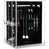YEEGG Acrylic Jewelry Storage Box,Earring Display Stand Earring Organizer Holder Hanger Earring Studs with 3 Vertical Drawer