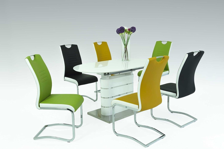 Tischgruppe Essecke Tisch und Stühle Trondheim in Weiß Hochglanz