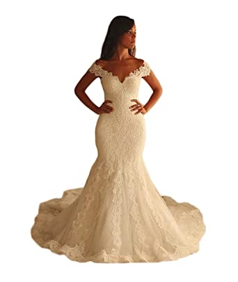 Girls Dress 2018 Vestidos de Novia Con Encaje Boat Neck Lace Appliques Mermaid Keyhole Back Wedding