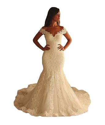 Girls Dress 2018 Vestidos de Novia Con Encaje Boat Neck Lace Appliques Mermaid Keyhole Back Wedding