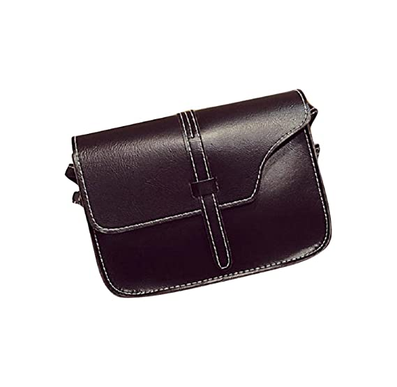 FDelinK PU Leather Messenger Bag Cross Body Satchel Handbag Tote Bags for Women Girl (Black