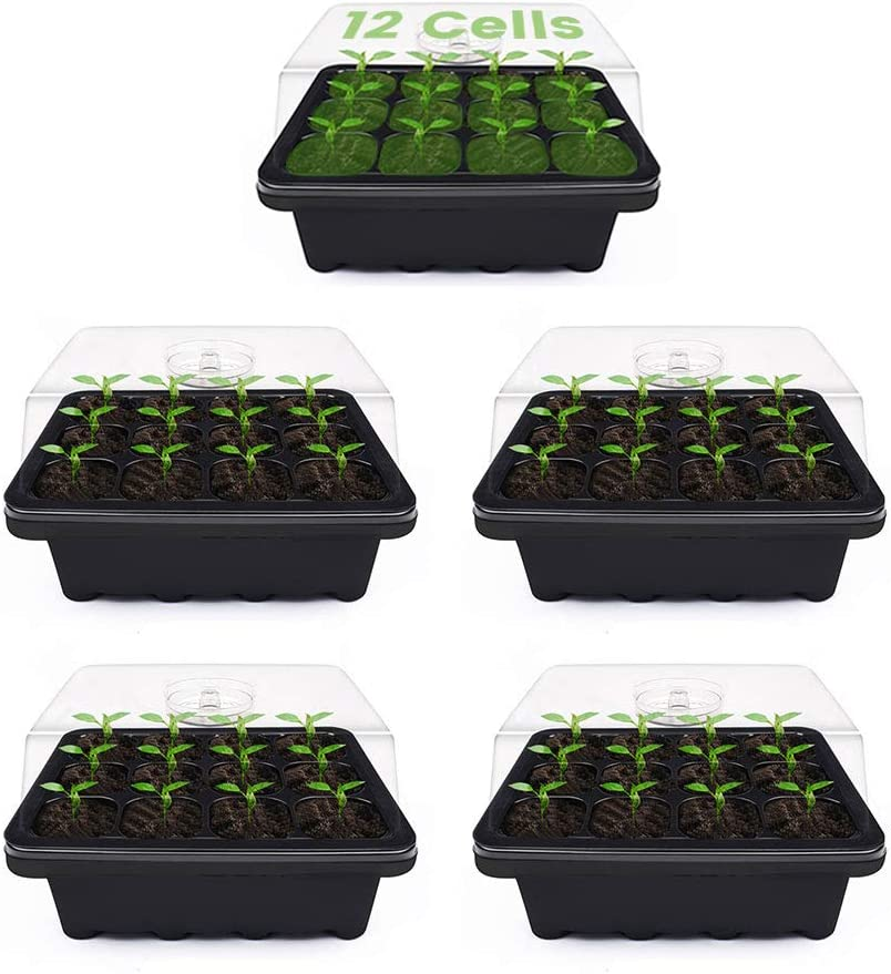 Mini Propagator for Seed Starting Plants Durable Reusable and Recyclable 5Pack Plus Cherry Juilt 5 Pack Seed Starter Tray 60 Cells Seedling Grow Trays with Humidity Dome and Cell Insert