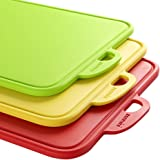 Colored Cutting Boards for Kitchen,zanmini Dishwasher Safe with Support Stand and Handing Hole Boards - BPA Free FDA Approved & Eco Friendly