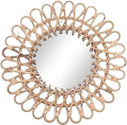 Solo Cornice RecoverLOVE Specchio in Rattan Cornice in Rattan Specchio in Rattan Art Decor Specchio Rotondo Decorativo in Rattan Cornice in Metallo Specchio da Parete a Sospensione Boho Decor