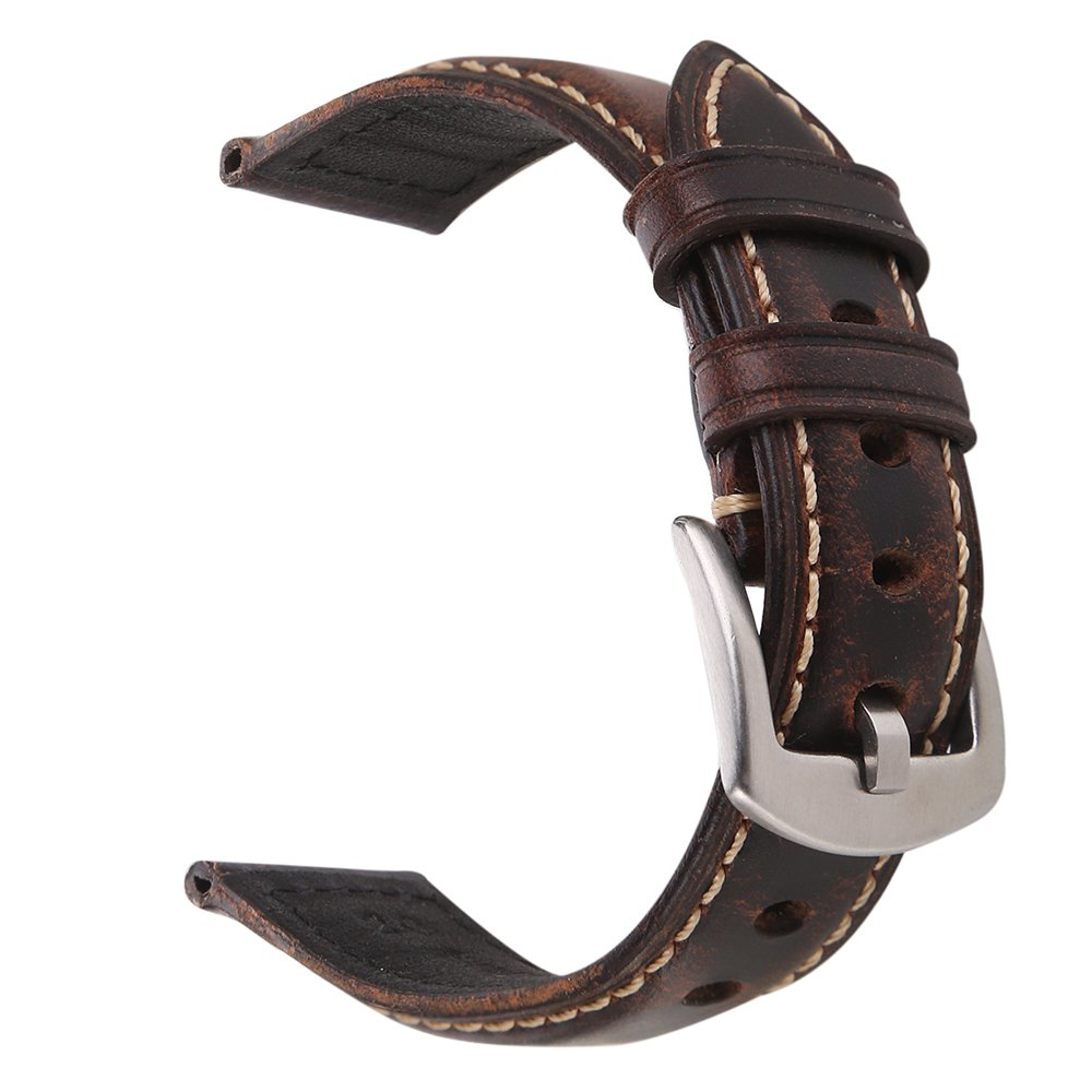 EACHE 20mm Genuine Leather Watch Band Dark Brown Oil-Tanned Natural Crack Leather Wrist Straps with Silver Buckle