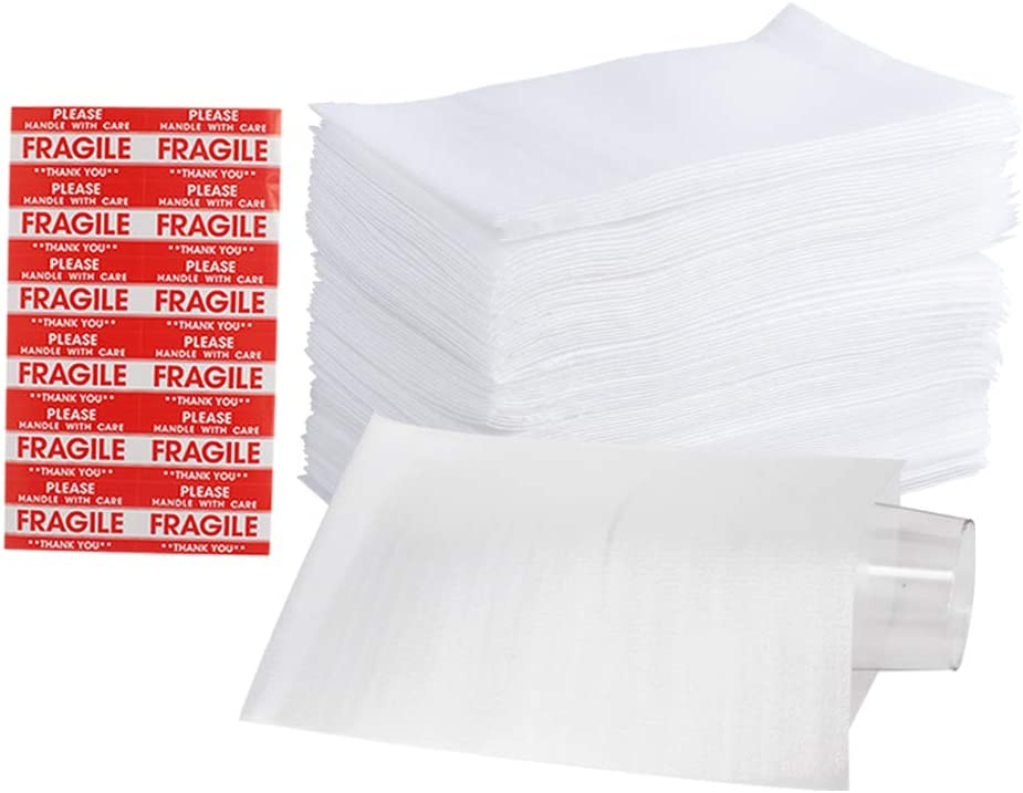"""100 Pack 7.5""""x 12"""" Foam Wrap Cushion Pouches (0.75mmThickness), Extra 5 Pack Fragile Stickers Labels(60 pcs) - Protect Dishes, Glasses, Porcelain & Fragile Items, for Moving, Packing by ZMYBCPACK: Office Products"""