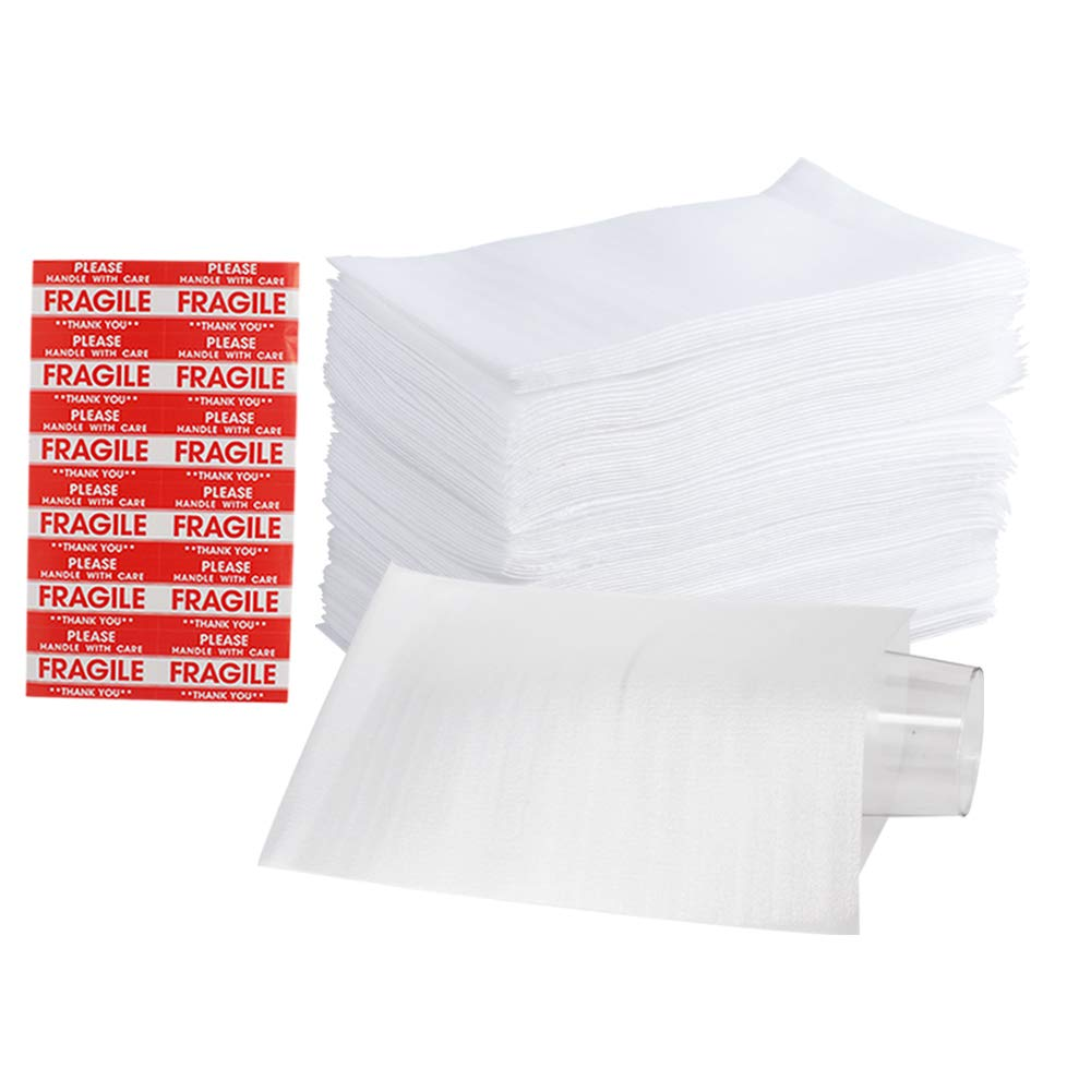 """100 Pack 7.5 x 12"""" Foam Wrap Cushion Pouches (0.75mmThickness), Extra 5 Pack Fragile Stickers Labels(60 pcs) - Protect Dishes, Glasses, Porcelain & Fragile Items, for Moving, Packing by ZMYBCPACK 61SSjlNHDZL"""
