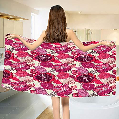 "smallbeefly Poppy Bath Towel Watercolor Ornamental Flourished Foliage Summer Plants Vintage Illustration Bathroom Towels Pink Purple Beige Size: W 31.5"" x L 73"""