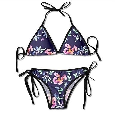 Verano Jardín Floral En Pizarra Azul Moda Mujer Bikini Traje ...