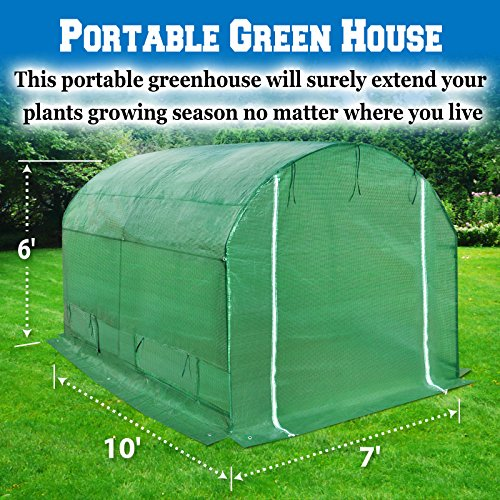 BenefitUSA Hot Green House 10'x7'x6′ Larger Walk In Outdoor Plant Gardening Greenhouse