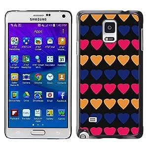 Be Good Phone Accessory // Dura Cáscara cubierta Protectora Caso Carcasa Funda de Protección para Samsung Galaxy Note 4 SM-N910 // heart pattern peach black lines pink