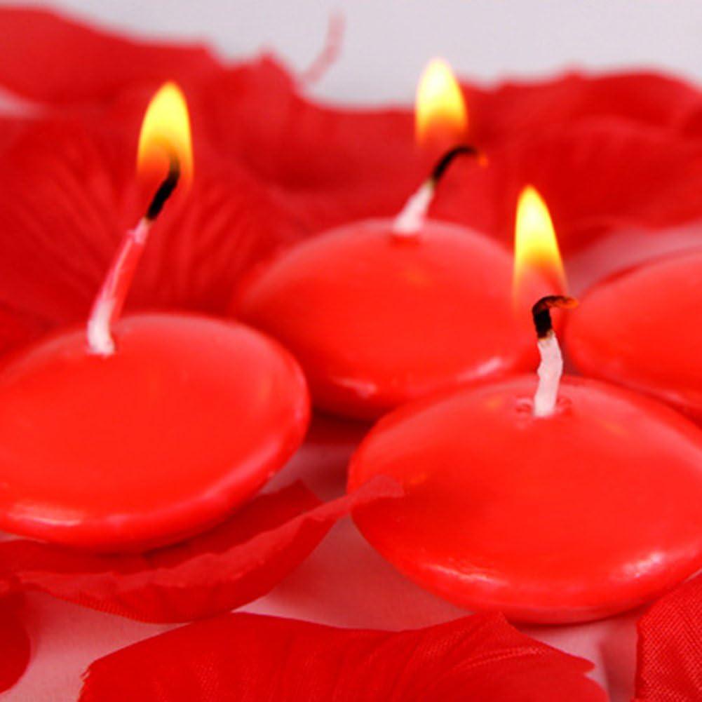 Candele decorative galleggianti con stoppino in cotone che impedisce la fuoriuscita di fumo Sundlight Confezione da 10 rosa rilassanti per matrimoni e spa